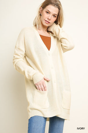 Ribbed Knit Button Up Long Cardigan with Front Pockets!