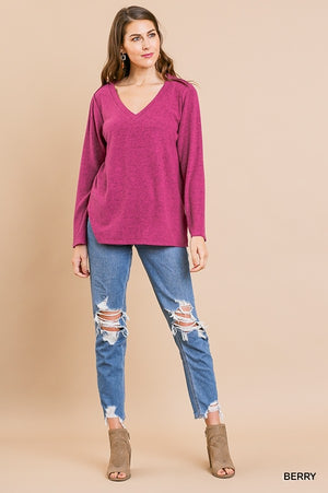 Fleece Fabric Long Sleeve V-Neck Heathered Knit Top with Side Slits