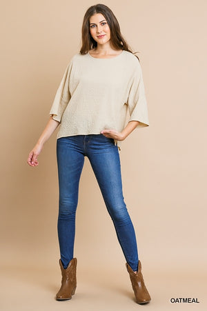 3/4 Sleeve Bubble Crinkle Round Neck Top with Side Slits!