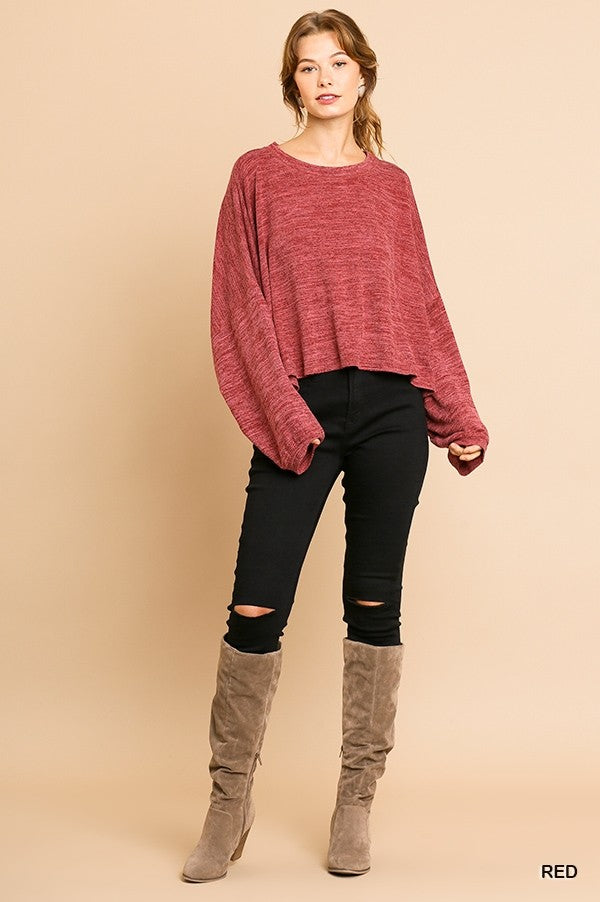 Heathered Knit Long Puff Sleeve Round Neck Top!