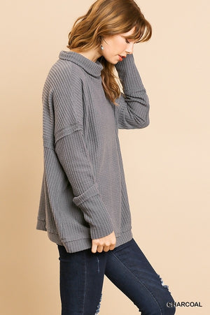 Waffle Knit Long Sleeve High Folded Neck Top!