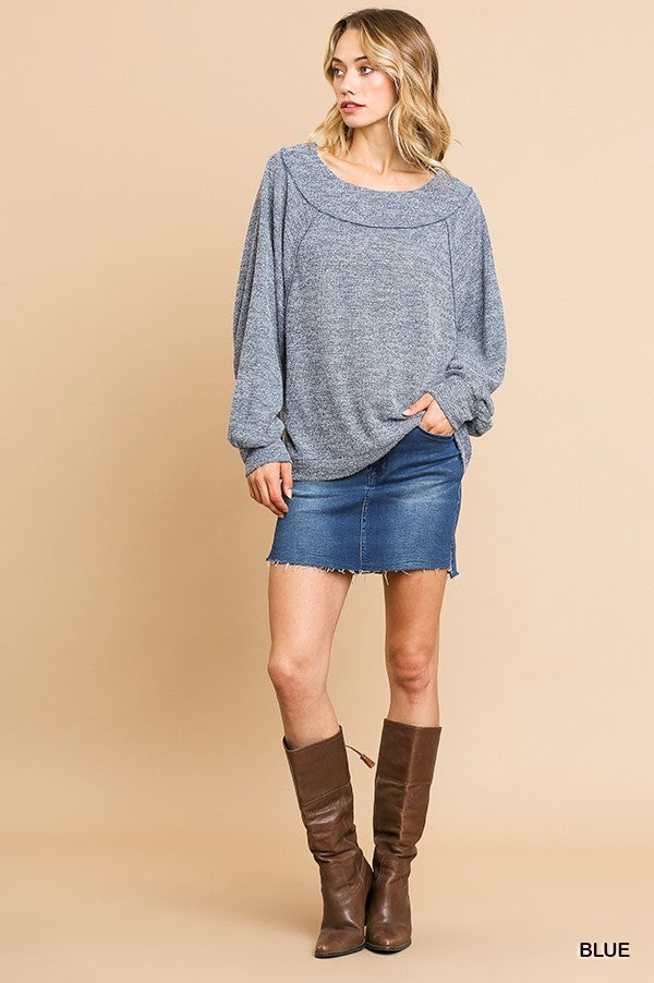 Long Puff Sleeve Heathered Knit Round Neck Top!