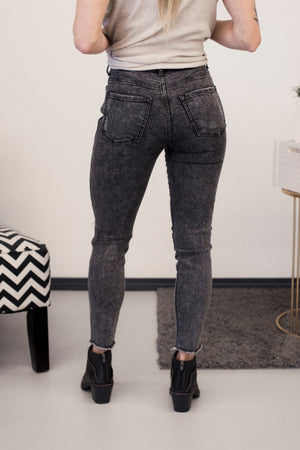 SP High Rise Ankle Skinny Jeans With Knee Distress