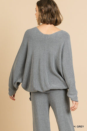 Long Sleeve V-Neck Crossbody Knit Top with Waist Tie!