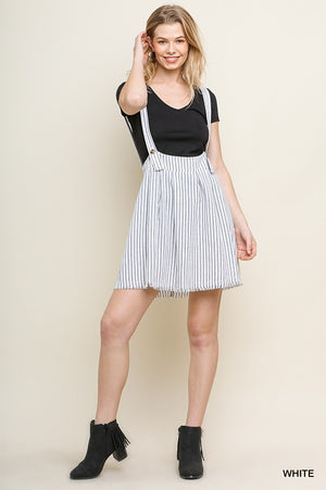 Striped Overall Skirt with Buttoned Straps, Zipper Back, and Frayed Hem!