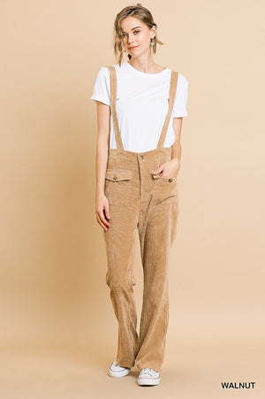 Corduroy Wide Leg Pant Overall with Front Pockets and Removable Straps