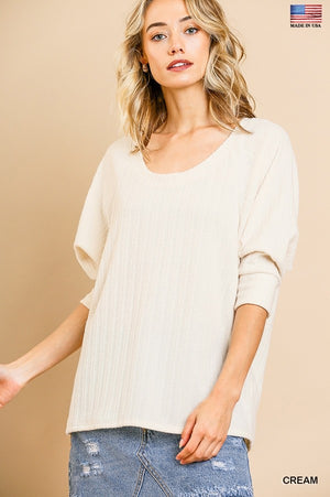 3/4 Sleeve Round Neck Knit Top