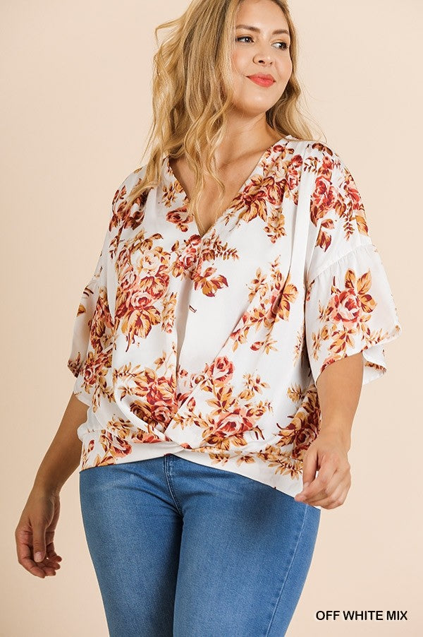 Satin Floral Print Bell Sleeve V-Neck Top with Gathered Front Detail!