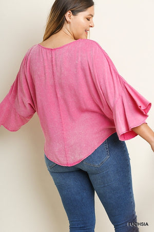 Mineral Washed 3/4 Ruffled Bell Sleeve Top with a Front Waist Tie and Scoop Hem!