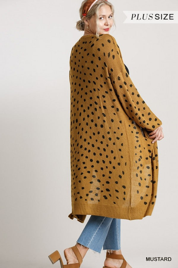 Dalmatian Print Long Open Front Cardigan Sweater with Pockets!