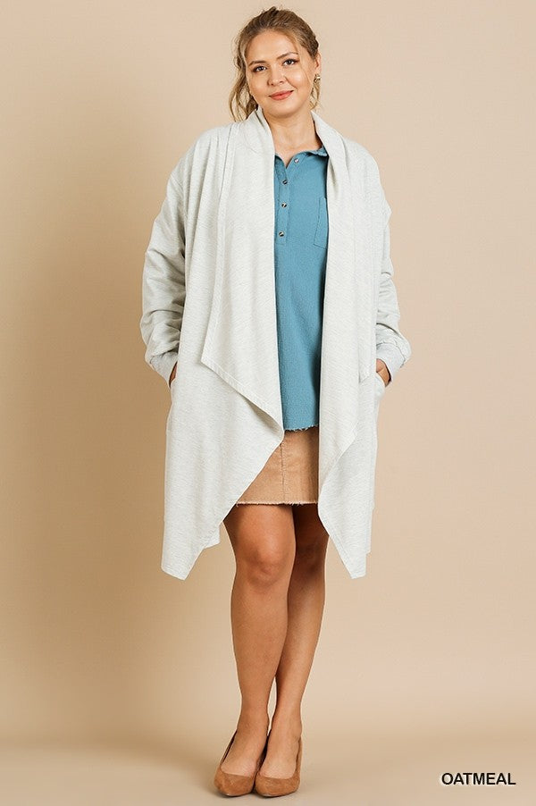 Long Sleeve Heathered Open Front Long Jacket!