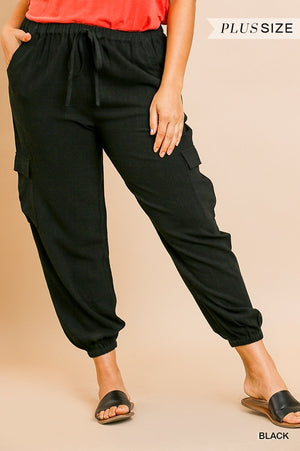Linen Blend High Waist Jogger Pant In Curvy Style!