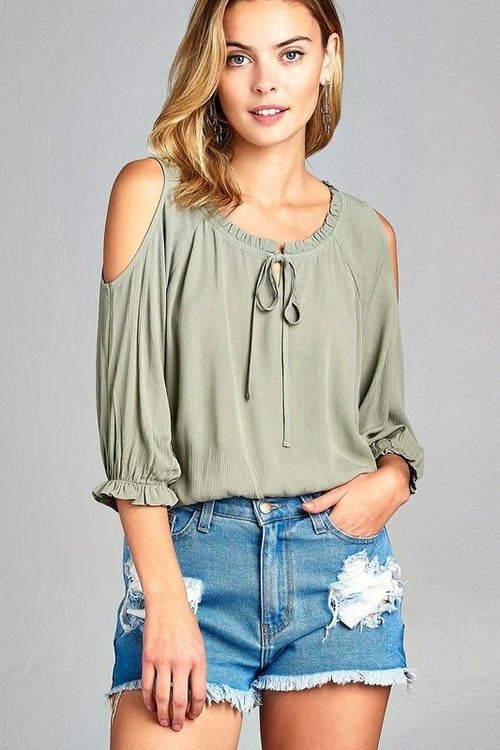 Women's 3/4 Three Quarter Cold Shoulder Top - Women's Clothing - Just Say Tees