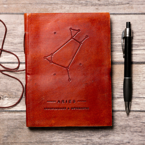 Aries Zodiac Handmade Leather Journal - Gifts - Just Say Tees