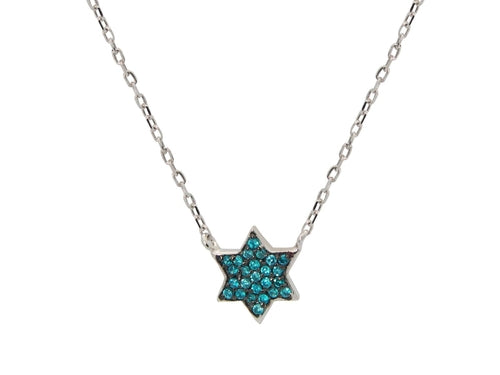 Mini Sparkling Aqua Star of David Necklace - Jewelry & Watches - Just Say Tees
