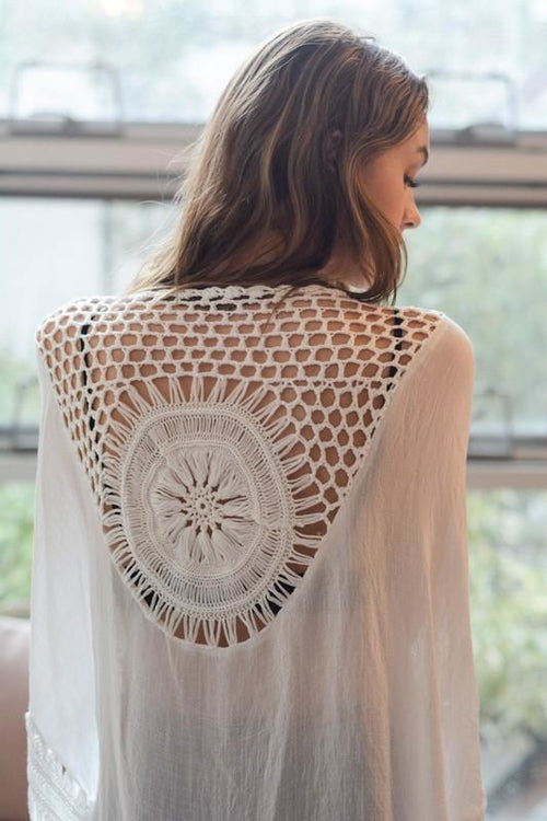 White Medallion Kimono with Armholes - Women's Clothing - Just Say Tees