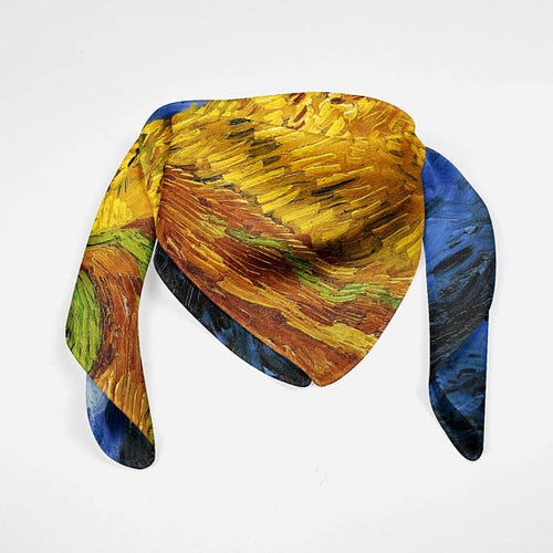 Wheat Field Silk Scarf Van Gogh Bandana Scarf - Fashion Accessories - Just Say Tees