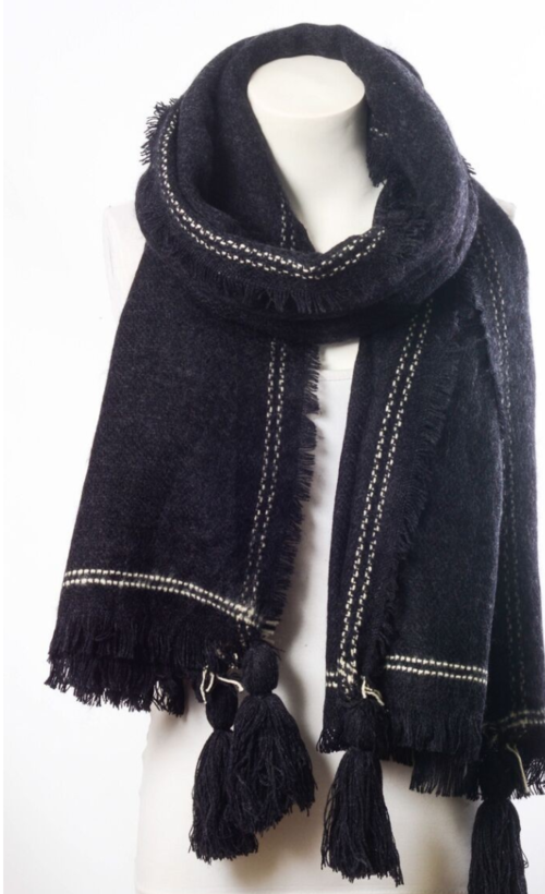 Long Black Tassel Frayed Blanket Scarf - Fashion Accessories - Just Say Tees