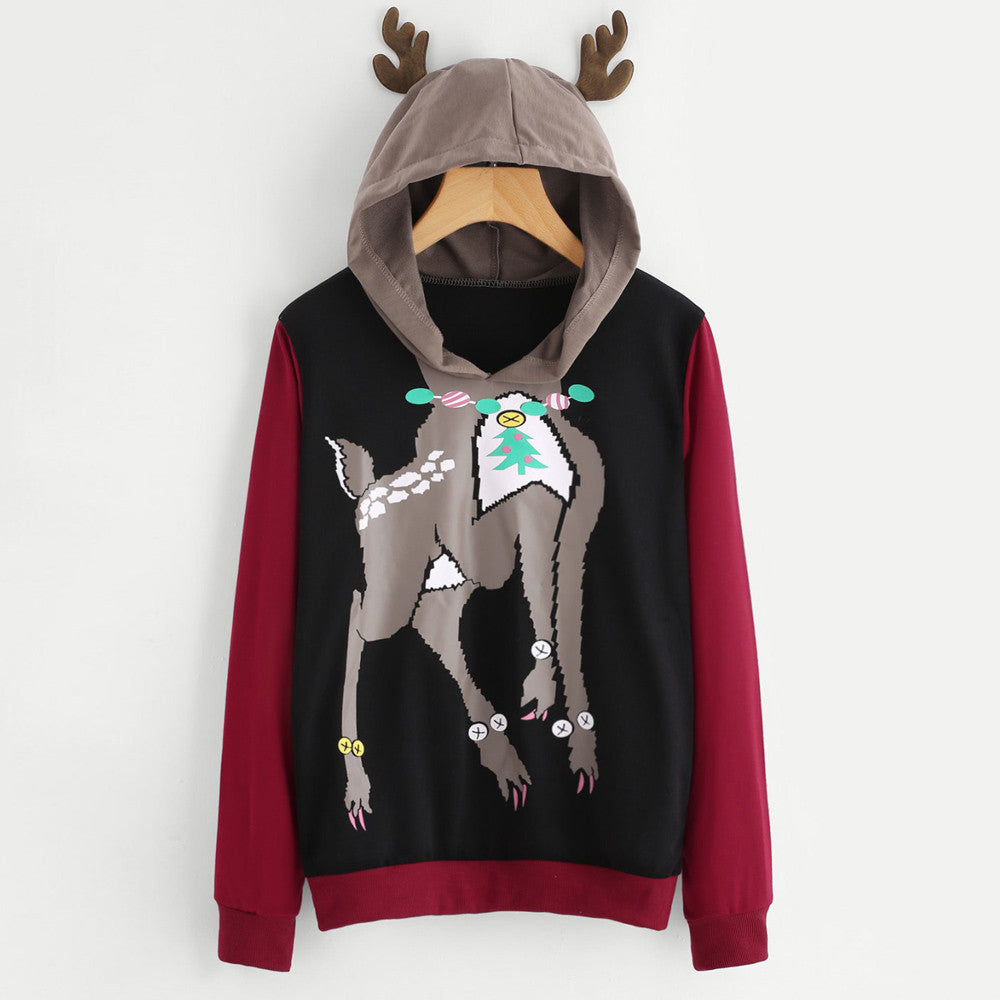 Christmas Reindeer Hoodie Long Sleeve with Antler Hood - Hoodies & Sweatshirts - Just Say Tees