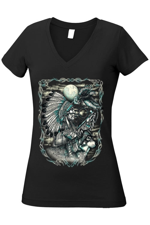 Women's Juniors V-Neck T Shirt Indian Dreamcatcher - Women's Clothing - Just Say Tees