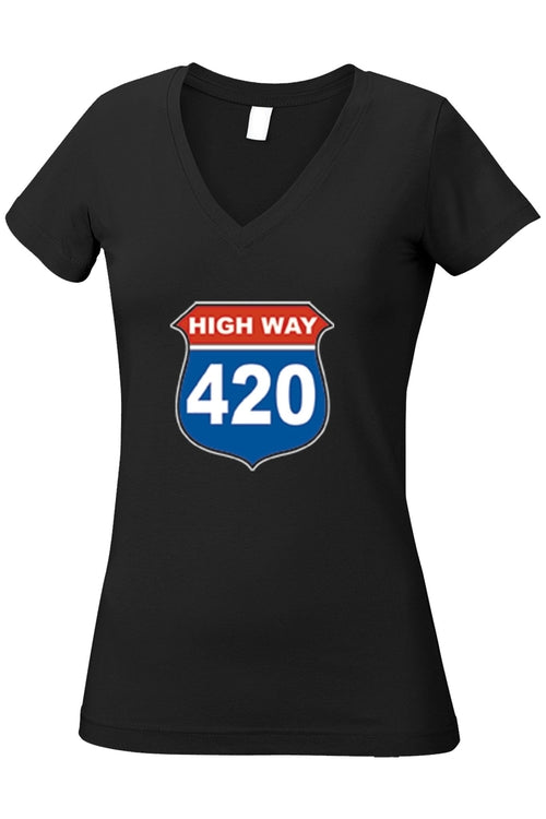 Women's Juniors V-Neck T Shirt Highway 420 - Women's Clothing - Just Say Tees