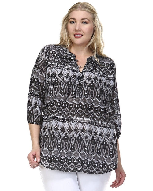 Women's Plus Size 3/4 Sleeve Button Front Top - Women's Clothing - Just Say Tees