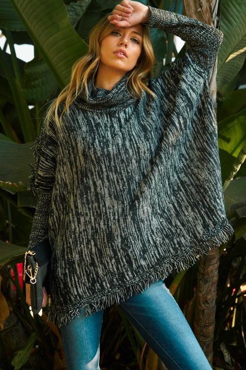 Women's Turtle Neck Tassel Sweater - Women's Clothing - Just Say Tees