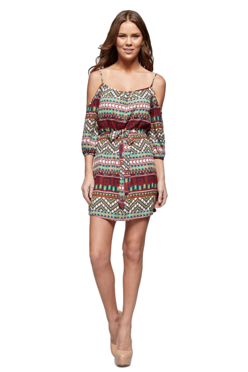 Women's Aztec Printed Cold Shoulder Tank Dress - Women's Clothing - Just Say Tees