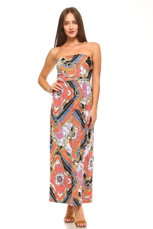Women's Strapless Multi Pattern Dress - Women's Clothing - Just Say Tees