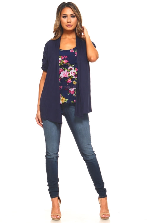 Women's Floral Print Top with Attached Cardigan - Women's Clothing - Just Say Tees