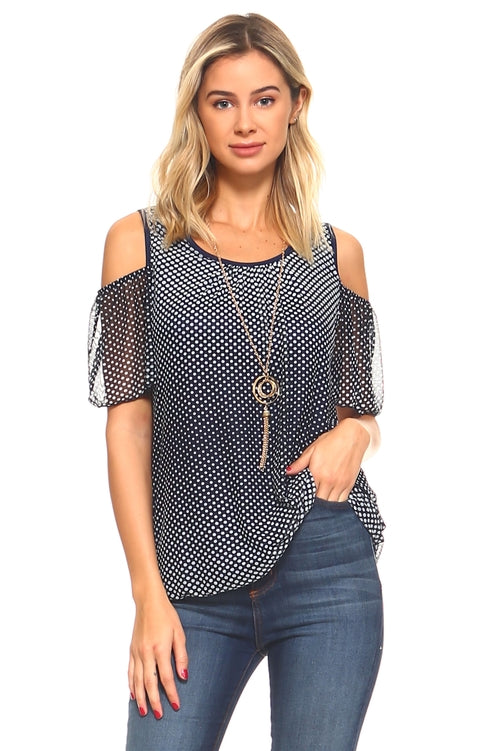Women's Cold Shoulder Top with Necklace - Just Say Tees
