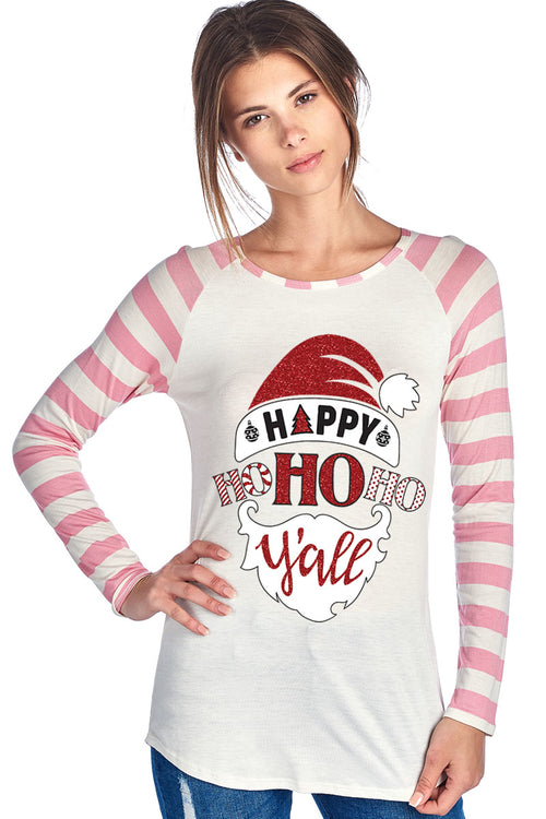 HAPPY HO HO HO Y'ALL W/ SANTA HAT AND BEARD WITH - Clothing - Just Say Tees
