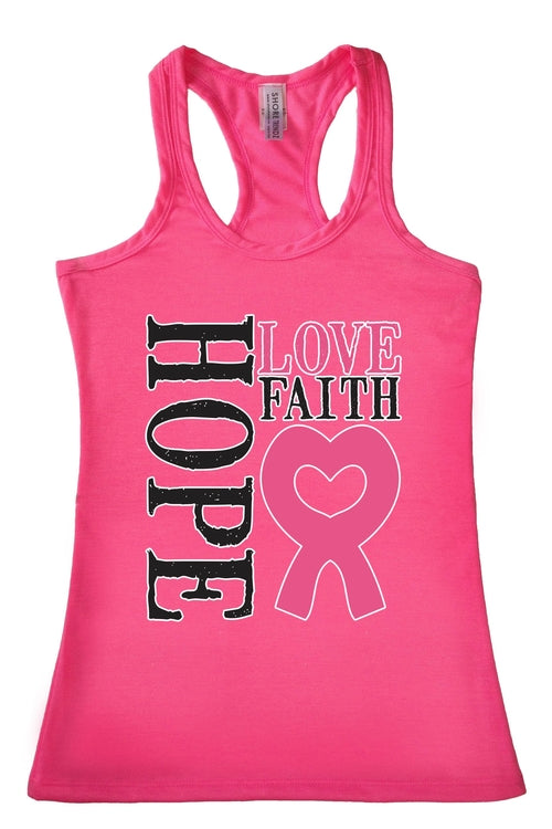 Women's Tank Top Breast Cancer Awareness Hope Love - Just Say Tees