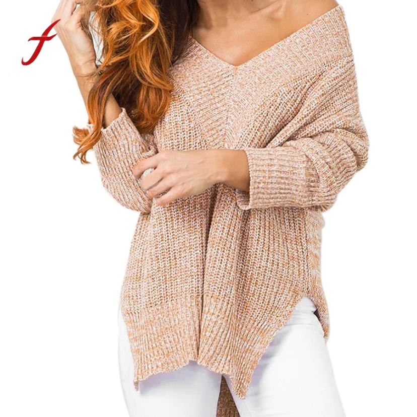 Women's Oversized Off the Shoulder Knitted Sexy V-Neck Long Sleeve Sweater - Pullovers - Just Say Tees