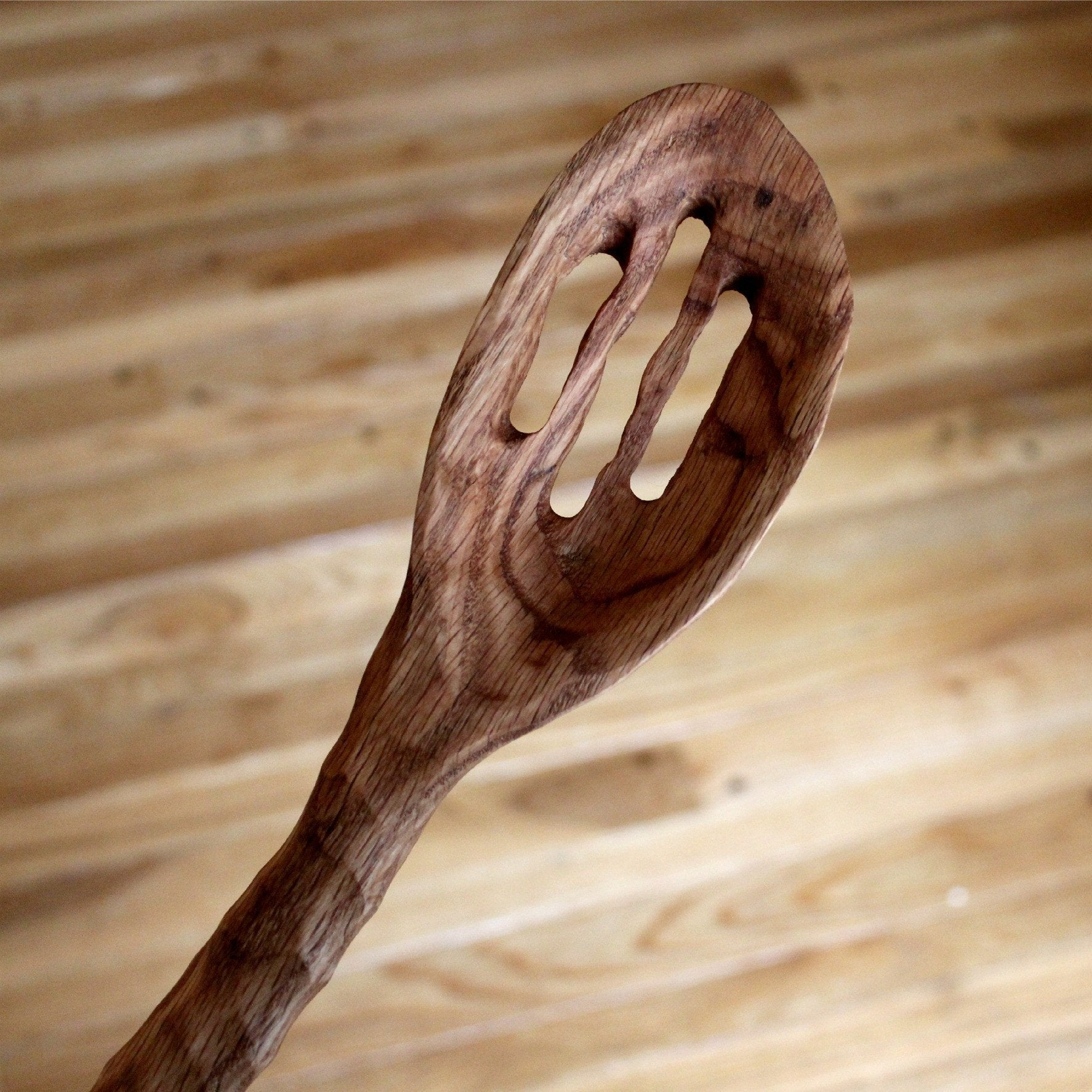 Wood Slotted Heavy Chef Spoon