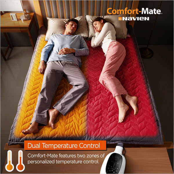 Comfort-Mate features two zones of personalized temperature control. Two separate temperatures can be perfectly maintained by our Smart Separated Heating! With Comfort-Mate, you can now improve the quality of sleep by keeping a high temperature on one side and a warm temperature on the other side at the same time depending on the temperature you desire. Separated Heating System - The intelligent separate heating function precisely controls the left / right temperature based on the optimum temperatures you set. Accurate Temperature Control - Controlling the temperature of the water passing through the mat, Comfort-Mate keeps your desired temperature precisely.
