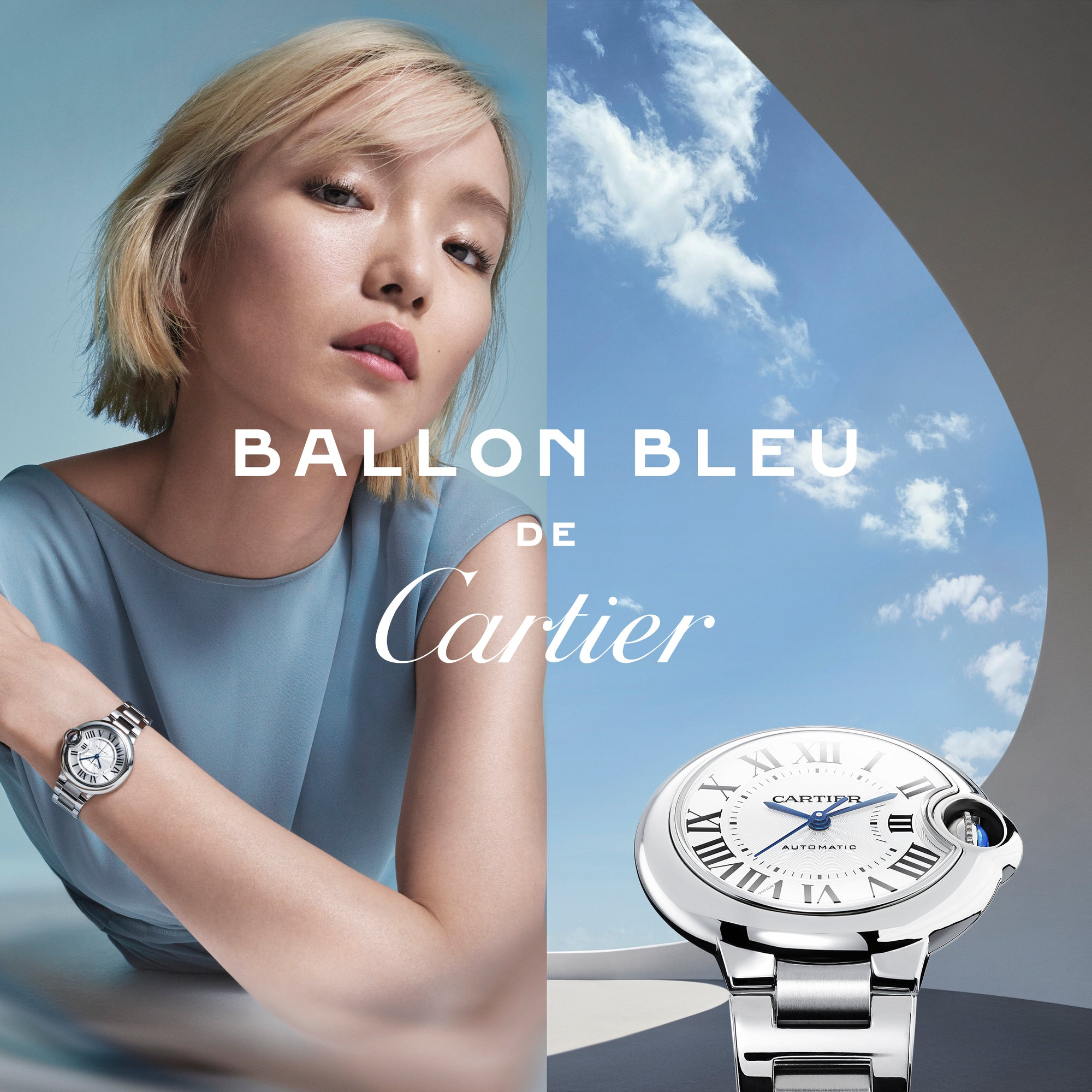 Ballon Bleu de Cartier watch, 36 mm, mechanical movement with automatic winding. Steel case, fluted crown set with a cabochon synthetic spinel. Silver guilloché dial. Blued-steel sword-shaped hands. Sapphire crystal. Steel interchangeable bracelet.