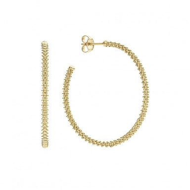 Caviar Gold Hoop Earrings (35mm)