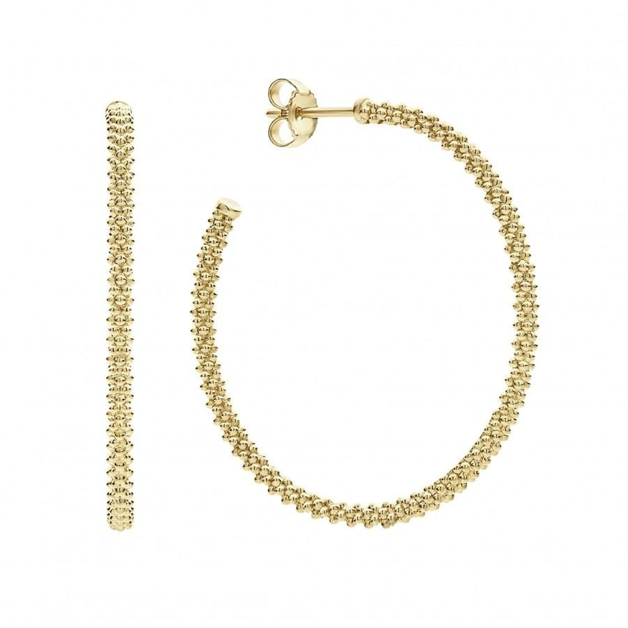 Caviar Gold Hoop Earrings (50mm)