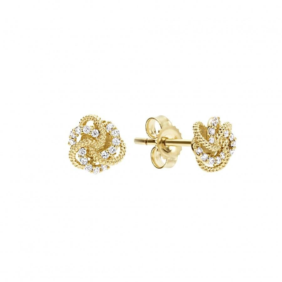 Love Knot Diamond Stud Earrings (7mm)