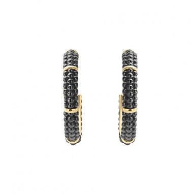 Gold & Black Caviar Hoop Earrings
