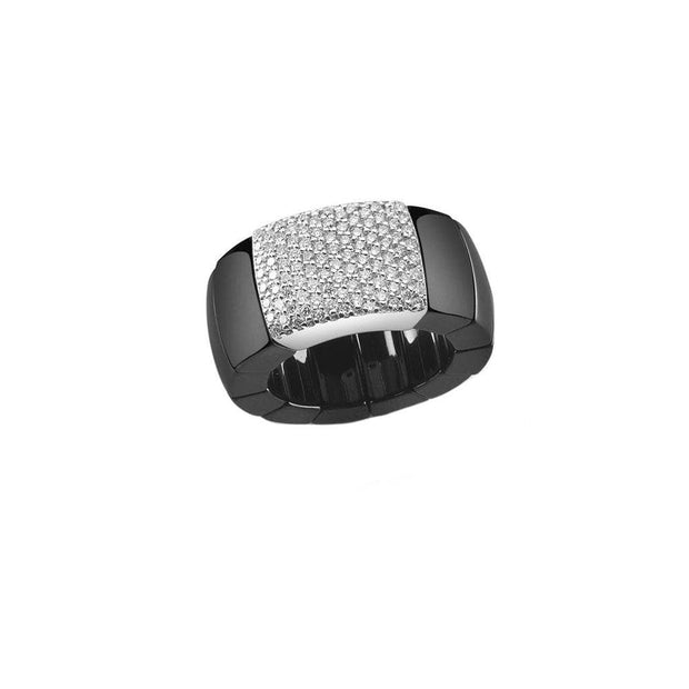 BLACK CERAMIC DOMINO DIAMOND STRETCH RING