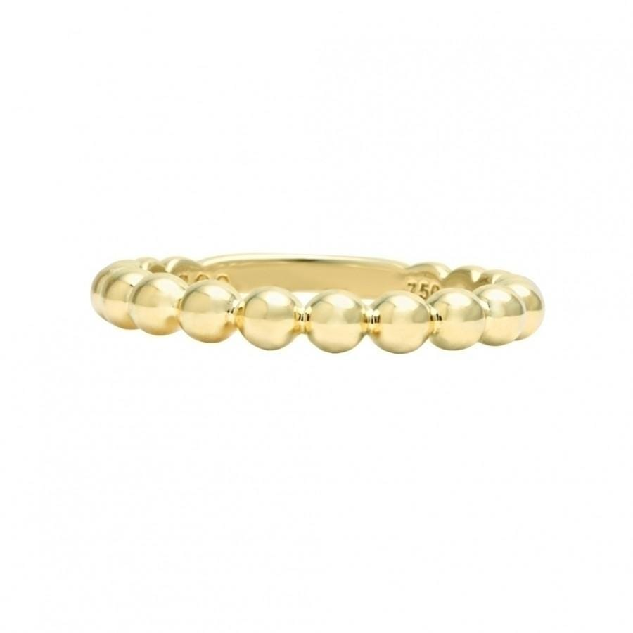 Caviar Gold Beaded Stacking Ring