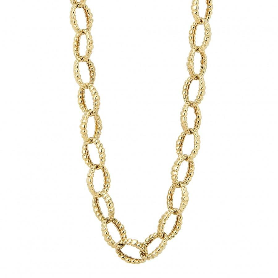 "Caviar Gold Fluted Necklace (18"")"