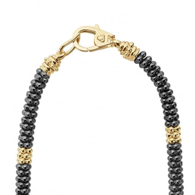 Gold & Black Caviar Beaded Necklace (5mm)