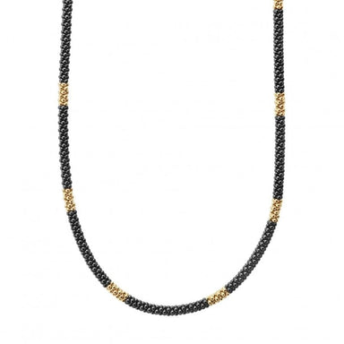 Gold & Black Caviar Beaded Necklace (3mm)