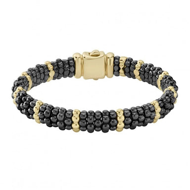 Gold & Black Caviar 10/1 Beaded Bracelet (9mm)