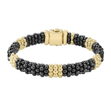 Gold & Black Caviar 5/3 Beaded Bracelet (9mm)
