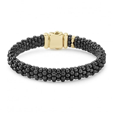 Gold & Black Caviar Signature Beaded Bracelet (9mm)