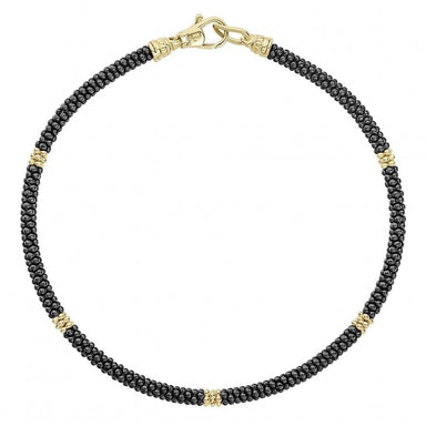 Gold & Black Caviar Beaded Bracelet (3mm)